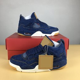 Wholesale Lace Up Denim Jeans - Basketball Shoes Retro 4 X Denim LS 4s AO2571-401 Blue Jeans NRG Men Athletic Sport Shoes Drop Shipping Ship With Box