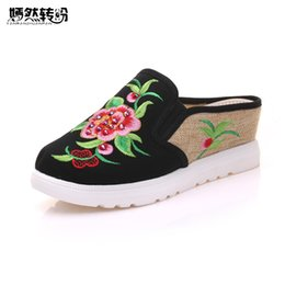 Wholesale chinese sandals - Vintage Women Slippers Spring Summer Chinese Peony Floral Embroidered Casual Sandals Comfortable Shoes Woman Chinelo Feminino