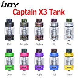 Wholesale Glass 25mm - Authentic Ijoy Captain X3 Tank 8ml 6ml Glass Sub Ohm Atomizer Colorful Cobra Resin Drip Tip 25mm Diameter for X3 C1 C3 Coil 100% Genuine