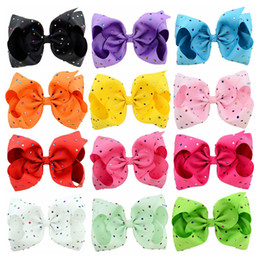 Wholesale Wholesale Baby Hairclips - 8 Inch Kids Hairbows Hairclips Boutique Big Bows with Clips for School Baby Girls Barrettes with Colorful Rhinestone Hair Accessories