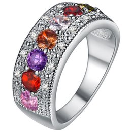Wholesale Red Tourmaline Jewelry - Fashion Lady Rings CZ Tourmaline Silver Color Ring Wedding Crystal Romantic Love For Women Jewelry Gift