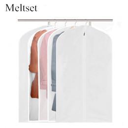 Wholesale suit dust covers - 5 Sizes Garment Suit Coat Dust Cover Dustproof Hanging Storage Bag Household Wardrobe Organizer For Kids Boys Girls Men's Women