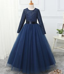 kids red evening gowns Coupons - Long Sleeves Lace Tulle Flower Girls Dresses 2019 Jewel Neck Floor Length Communion Dresses New Kids Evening Gowns