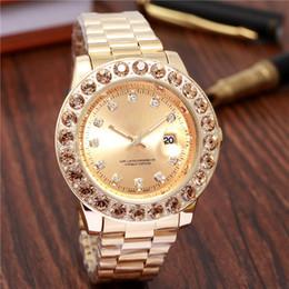 Fecha del reloj del rhinestone online-reloj mujer señoras vestido nuevo reloj lleno de diamantes marca casual fecha relojes de pulsera para mujer relojes de oro reloj de cuarzo esfera rhinestone