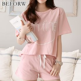 BEFORW Fashion Breathable Pajama Women Summer Comfortable Cozy Alphabet  Pijama Set Cute Classic Sleepwear Shorts Women Pajamas 3356b9742