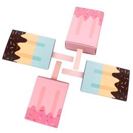 Розовые кремовые малыши онлайн-Мороженое конфеты коробки душа ребенка розовая девочка Синий мальчик дети сувениры подарочная бумага конфеты коробка день рождения украшения