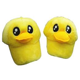 niedlicher entenhut Rabatt Neue Kinder Winterwärmer Plüsch Tier Nette Große gelbe Ente Design Frauen Hut Hip-Hop Baseballmütze