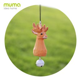 Wholesale Wood Craft Cars - Real Wood Hand-Carved Wooden Carving Of A Creative Gift Living Room Set Up A Deer Cat Bell Car Pendant Decorative Household Crafts