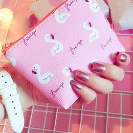 Wholesale Strawberry Coin - 1PC Fashion Women Flamingo Strawberry Pattern Coin Purse Zip Bag Mini Wallet PU Leather Portable Handbag High Quality
