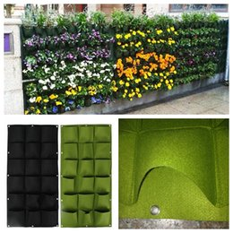 Wholesale outdoor garden planters - Garden Pockets Wall Vertical Grow Bags For Plants Flower Hanging Felt Planter 18 Pocket Indoor Outdoor Plant Pots DDA523