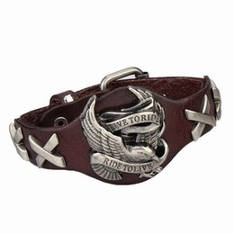 Leder steampunk armbänder online-Großhandels-Steampunk Art-Mann-Schmucksache-Adler-Charme-echtes Lederarmband-Armband-Schmucksachen für Männer 4 Farben-Armbänder für Männer 2018