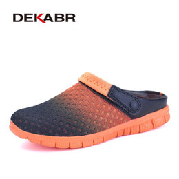 Wholesale Light Blue Flip Flops - Big Size 36-46 Men Summer Shoes Sandals New Breathable Beach Flip Flops Slip On Mens Slippers Mesh Lighted Unisex Shoes