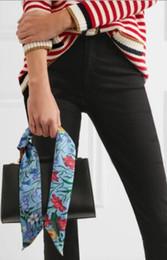Маленькие ленты с атласной лентой онлайн-новая мода атласный тотем цветок цветок небольшой шарф декоративные шарф связали мешок лук ленты