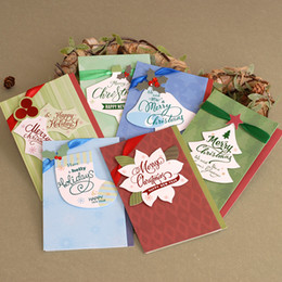 Wholesale Merry Christmas Ribbon - Wholesale-Vintage Merry Chirstmas Cards Gift Ribbon Ornament Handmade Christmas Cards