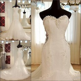 Wholesale Sweetheart Beaded Sexy Wedding Mermaid - Vintage Beaded Lace Mermaid Wedding Dresses 2018 Sweetheart Ivory Tulle Corset Bridal Gowns Custom Made Real Images Wedding Gown