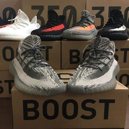 Wholesale big blue boxes - Big Discount Original Box Real Boost 350 V2 Zebra Beluga Blade Cream Running Shoes for Kanye West SPLY 2.0 Runners Casual Sneakers Size 36-4