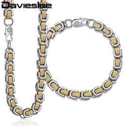 bracelete dos homens byzantine Desconto Davieslee Womens Mens Pulseira Colar Cadeia de Jóias Set Byzantine Box Link Aço Inoxidável Tom de Prata de Ouro 8mm LKS235