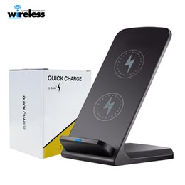 Wholesale fast custom - Desktop fast Qi Wireless Charger stand Wireless Charger Pad 2 Coils for iPhone X 8 8 Plus Samsung Note 8 S8 s7 s6