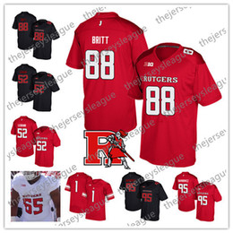 9d5342eef Rutgers Scarlet Knights  88 Kenny Britt 95 Justin Davidovicz 52 Eric  LeGrand Red Black White Best Stitched NCAA College Football Jerseys