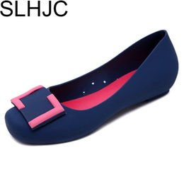 Wholesale Resistance Shoes - SLHJC Summer Jelly Shoes 2018 Sweet Shallow Mouth Comfortable Flat Heel Wide Foot Sandals Women Slip Resistance Rain Shoes