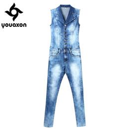 Wholesale Jumpsuits Jeans Denim For Women - 2043 Youaxon Women`s Plus Size Brand New Fashion Blue Stretch Denim Skinny Slim Fit Pants Jumpsuit Jeans For Women Jean Overalls