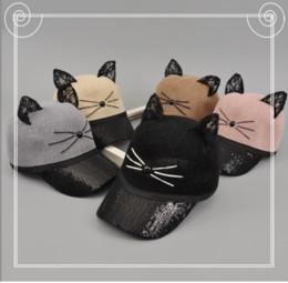 Mode filles paillettes casquettes de baseball été enfants enfants stéréo dentelle oreilles chapeau de balle enfant bande dessinée chat broderie plage soleil chapeaux YA0187 ? partir de fabricateur