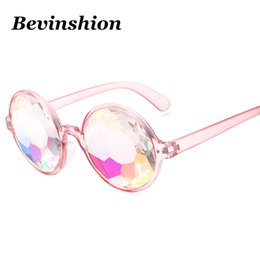 Wholesale Cool Optical - New Cool Kaleidoscope Glasses Round Sunglasses Women Men Nightclub Optical Sun Glasses Colorful Lens Glass Crystal Disco Party Eyewear