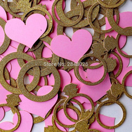 Wholesale Hearts Confetti - Wholesale-Bridal Shower Ring & Heart Confetti, Engagement Party Decoration, Wedding Confetti , Bachelorette, Glitter Gold Silver