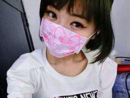 Argentina [3PCS = 1Pack Kawaii 14.5 * 9CM] Mascarilla desechable higiénica de Hello Kitty; Máscara de gasa bucal CARA para niña, fiesta cheap mouth mask pink Suministro