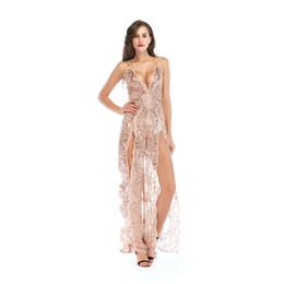 Lange kleider abend usa online-USA New Long Party Perlen Abend Schöne Frauen Öffnen Brust Sexy Kleider