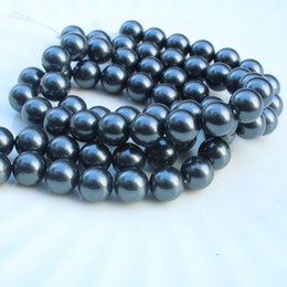 Wholesale Loose Pearl Strands - 1 Strand 6-14mm Black Pearl Round Loose Beads for Jewelry Making Necklace Bracelet DIY Beads Accessories