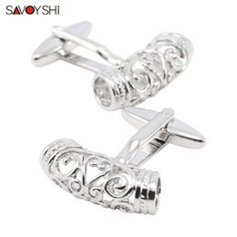 Wholesale arc link - SAVOYSHI Vintage Cufflinks for Mens Shirt Cuff Bottons Brand Silver Hollow Pattern Arc-shaped Cufflinks High Quality Men Jewelry