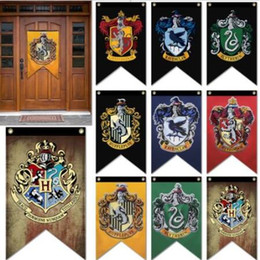 Wholesale party hanging decorations - 9 Styles 75*125cm Harry Potter Party Supplies College Flag Banners Decorative Hanging Home Decoration Banner Flags CCA9398 10pcs