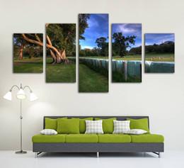 Canada HD impression toile peinture décorative à la maison sans cadre 5 panneau arbre vert et lac paysage photo mur affiche d'art pour le salon supplier green photo paint Offre