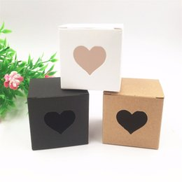 Wholesale Wholesale Box Heart Chocolate - 50pcs Per Lot Kraft White  Black Heart Shaped Window Cupcake Boxes Wedding Chocolate Packing Party Single Candy  Cookies Boxes