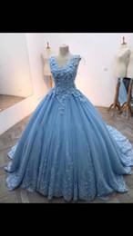 2019 robes de mariée couleur bleu Robe de mariée sexy col en V sans manches couleur bleu Robe de soirée longueur 2018 promotion robes de mariée couleur bleu