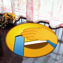 prix du revêtement de sol Promotion Smiley Face Emoji Ronde Tapis Pour Salon Salon Chambre Ordinateur Chaise Tapis Enfants Jouer Tapis De Sol Tapis Tapis