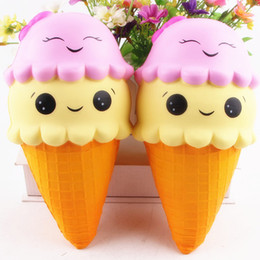 Wholesale Face Kid - New Jumbo 23CM Cartoon Double Smiley Face Ice Cream Squishy Slow Rising Sweet scented Charms Food rebound Bread Kid Toys