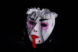 Argentina Super horror bar Halloween Ghost cara zombie, fantasmas chupadores de sangre máscara de esqueleto de piel seca, máscara de peluca de lengua roja cheap halloween skin mask Suministro