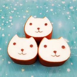2019 kawaii toastbrot squishy Kawaii verdicken Squishies Brot Toast Lächeln Gesicht Muster Jumbo Squishy Katze Form Squeeze Bag Phone Charms Brown 5 5hb BB rabatt kawaii toastbrot squishy