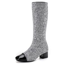 Wholesale Silver Glitter Chunky High Heels - Bling Bling Silver Sequins Knee High Boots Women Square Toe Chelsea Boots Med Chunky Heel Patchork High Booties