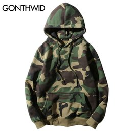 Wholesale winter camo hoodie - Wholesale- GONTHWID Army Green Camouflage Hoodies 2017 Winter Mens Camo Fleece Pullover Hooded Sweatshirts Hip Hop Swag Cotton Streetwear