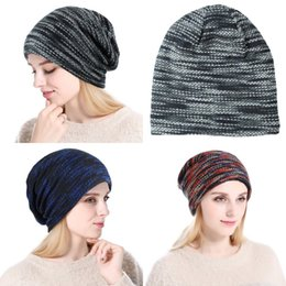 5b0516220070dd Outdoor Thick turban hat Colorful Knitted Winter Beanie Men Women Fashion  Bonnet With Fleece Multi-Purpose Winter Warm Hat