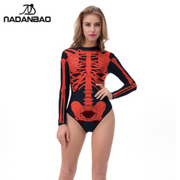 ce3181eefdf01 NADANBAO 2018 Halloween One Piece Swimsuit 3D Printed Skeleton Swimwear  Women Long Sleeve Zippered Plus Size Swim Suit