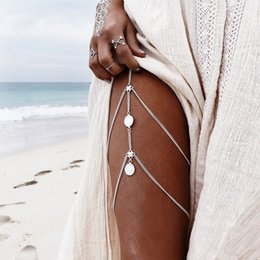 Wholesale gold silver chains wholesale - women Jewelry Anklets new summer Beach Multilayer Leg Chain Boho Ethnic Hippie Tassel Coin body foot Jewelry wholesale 2018 new Brand