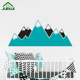 Wholesale Wall Decal Geometric - Geometric Mountains Kids Room Wall Sticker Removable Vinyl Wall Decor Decals Home Decor Decoration Bedroom Wall Art Poster JA831