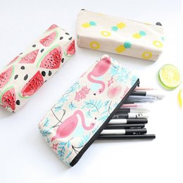 Wholesale large fabric pencil case - Creative Pineapple Flamingo Watermelon Canvas Large Capacity Pencil Bag Stationery Storage Bag Organizer Case School Supply