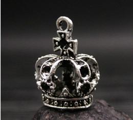 Wholesale Antique Bronze Charms Crown - 20pcs Vintage Antique Bronze Silver Zinc Alloy three dimensional crown Charms Pendant Fit Handmade Jewelry DIY 23*15MM