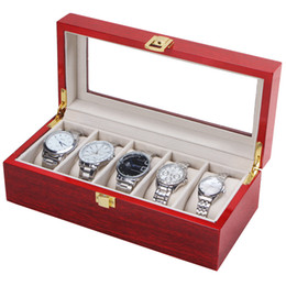 Wholesale Wristwatch Storage - FANALA 5 Grid Watch Display Case Black Wine Red Watch Box for WristWatches Jewelry Winder Storage Organizer Holder