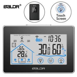 Термометр гигрометр часы наружные онлайн-Baldr Главная ЖК-метеостанция сенсорная кнопка In / наружная температура влажность беспроводной датчик гигрометр часы цифровой термометр